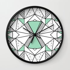 Ab Lines and Spots Mint Wall Clock