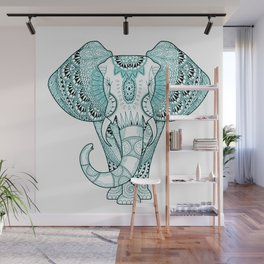 Turquoise Elephant Wall Mural