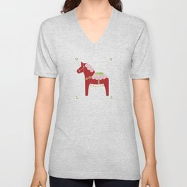 Valentine Dala Horse Unisex V-Neck