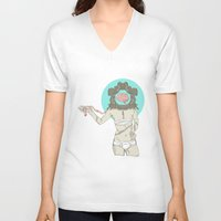 brain V-neck T-shirts featuring Brain ! by UNCOMMON Graphic Design