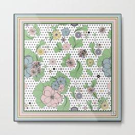 60s floral framed Metal Print