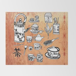 Chinese Tea Doodles 2 Throw Blanket