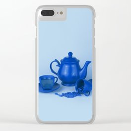 Blue tea party madness - still life Clear iPhone Case