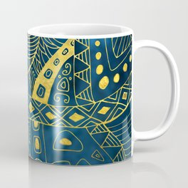Tribal  Watercolor and Gold Pattern on blue Coffee Mug