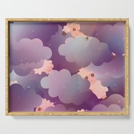 Heavenly Baby Sheep II - Wine Purple / Plum Color, Star Night Sky Background Serving Tray