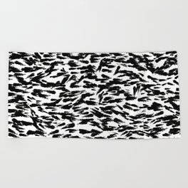 Black and White Ocean Current Abstract Pattern Beach Towel