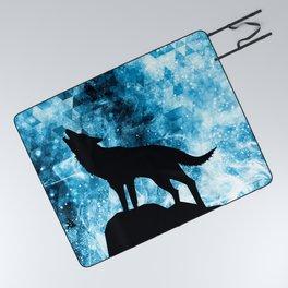 Howling Winter Wolf snowy blue smoke Picnic Blanket