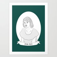 sylvia plath Art Prints featuring Sylvia Plath Illustration Portrait by Illustrated Women in History