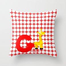 g for giraffe Throw Pillow