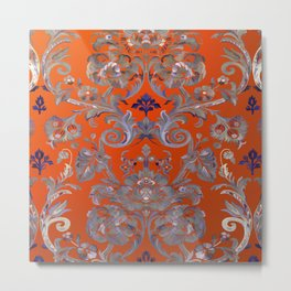 Painted Tibetan Brocade orange Metal Print