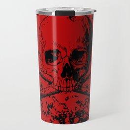 Skull and Crossbones Splatter Pattern Travel Mug