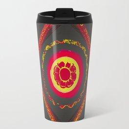 Pata Patterns in Red & Yellow on Black Travel Mug