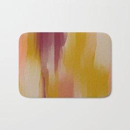 Mustard Cherry Blush Watercolor Fall Abstract Bath Mat