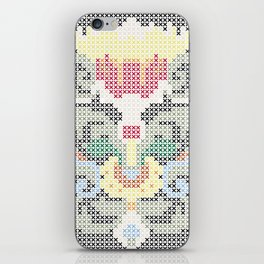 Real Cross Stitchable Pattern -- Renaissance Floral Color Coded Chart iPhone Skin