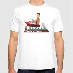 Shark Attack LARGE White Mens Fitted Tee
