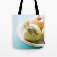 mini Tote Bags featuring Mini Apples by Colleen Farrell