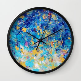 HYPNOTIC BLUE SUNSET - Simply Beautiful Royal Blue Navy Turquoise Aqua Sunrise Abstract Nature Decor Wall Clock