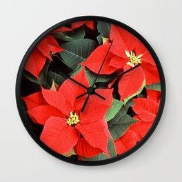 Beautiful Red Poinsettia Christmas Flowers Wall Clock