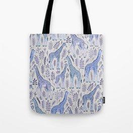 Blue Giraffe Pattern Tote Bag