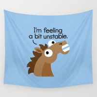 anxiety Wall Tapestries featuring Trigger Warning by David Olenick