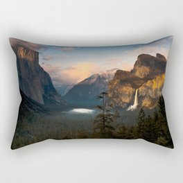 Yosemite National Park - Bridalveil Fall Tunnel View at Dusk Rectangular Pillow