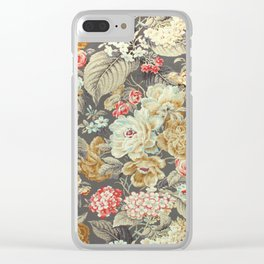 Gray Gold White Rose Pattern Clear iPhone Case
