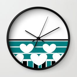 White Hearts with Turquoise Stripes Wall Clock