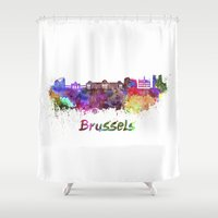 brussels Shower Curtains featuring Brussels skyline in watercolor by Paulrommer