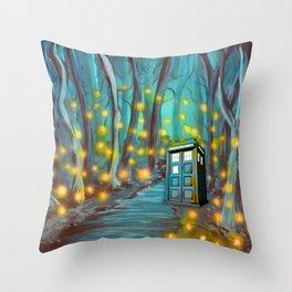 Tardis in the Glow Throw Pillow