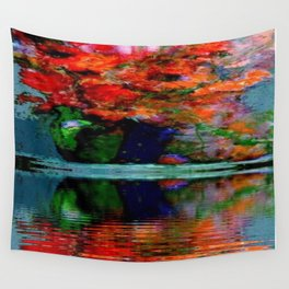 SURREAL RED POPPIES GREEN VASE REFLECTIONS Wall Tapestry