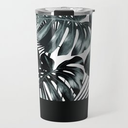 Palm Leaves and Black Travel Mug