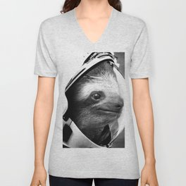 Astronaut Sloth Unisex V-Neck