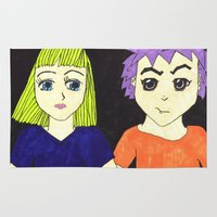manga Area & Throw Rugs featuring Manga pals by Betty Apple Pie