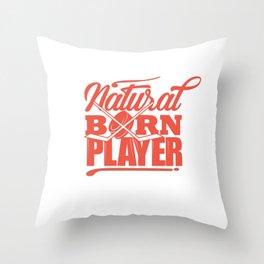 Cool Hockey Shirt Natural Born Player Street Throw Pillow