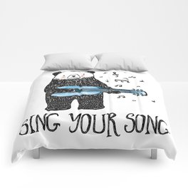 Sing Your Song - Cartoon Bear With Guitar Comforters