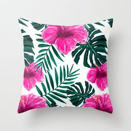 Flower Hibiscus Leaves Pattern Spring Face Mask Throw Pillow
