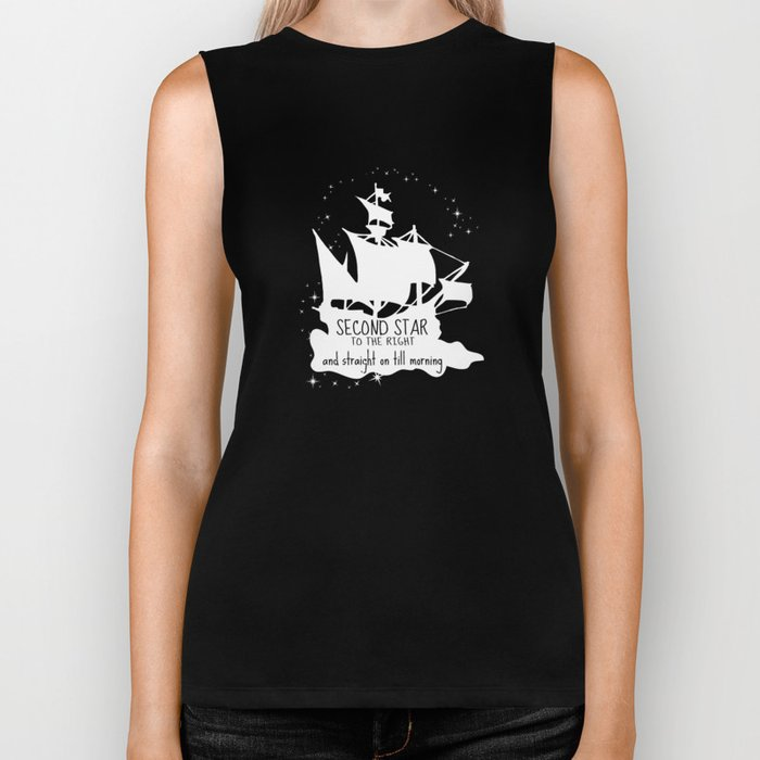 Second star to the right and straight on till morning - Peter Pan Inspired Art Print  Biker Tank