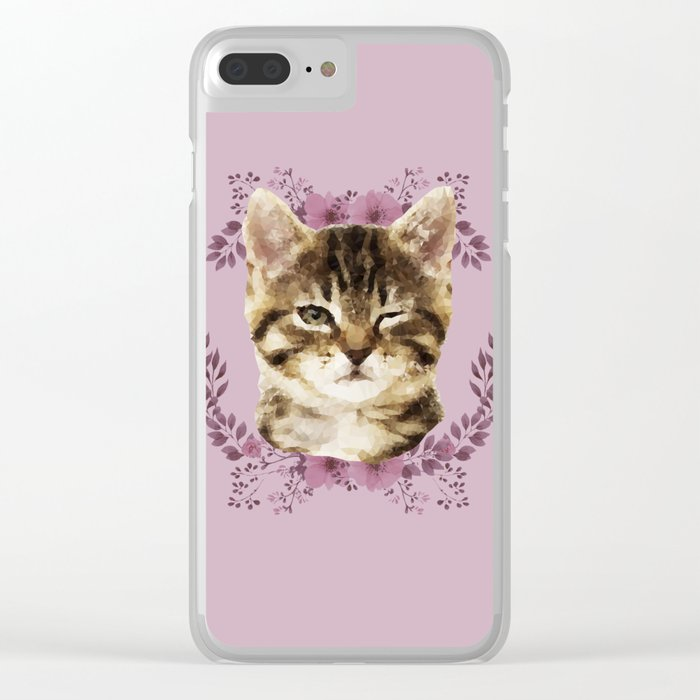 Cat Wink Clear iPhone Case