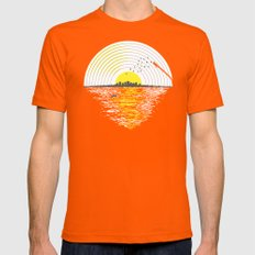 Morning Sounds Mens Fitted Tee LARGE Orange