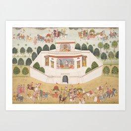 Krishna and Balarama within a Walled Palace - 18th Century Classical Hindu Art Art Print