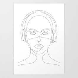 Girl with Headphones Art Print