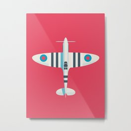 Supermarine Spitfire WWII RAF Royal Air Force Fighter Aircraft - Stripe Crimson Metal Print