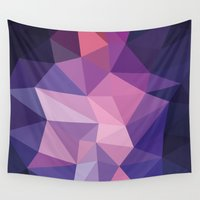 polygon Wall Tapestries featuring VIOLET POLYGON by Crimson-Shark