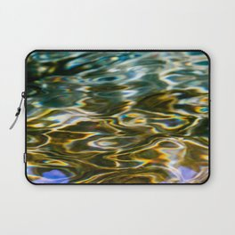 Prismatic Waves in Blue Green Copper and Gold Laptop Sleeve