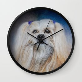 Handsome Lhasa Apso Wall Clock