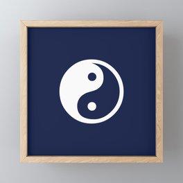 Navy Blue Yin Yang Framed Mini Art Print