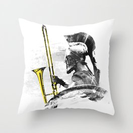 Trombone Warrior Throw Pillow