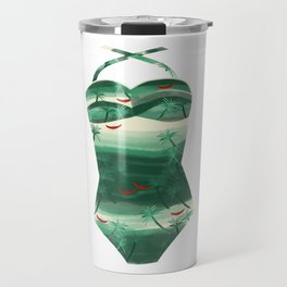 Vintage Green Palms Bathing Suit Travel Mug