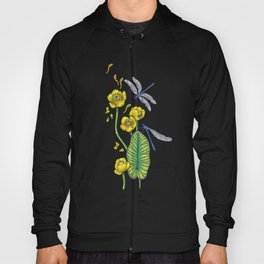 yellow water lilies and dragonflies Hoody
