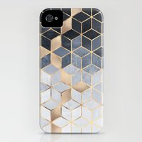 iPhone 4 Case featuring Soft Blue Gradient Cubes by Elisabeth Fredriksson